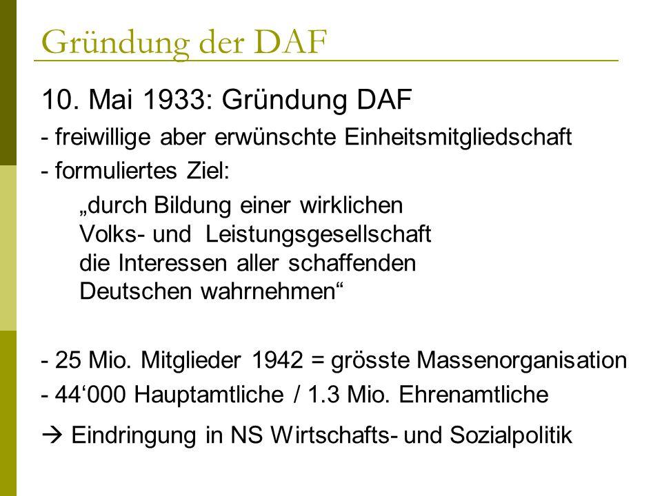 Gründung der DAF 10. Mai 1933: Gründung DAF - freiwillige aber erwünschte Einheitsmitgliedschaft - formuliertes Ziel: durch Bildung einer wirklichen V