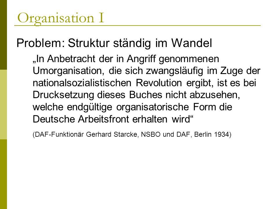 Organisation I Problem: Struktur ständig im Wandel In Anbetracht der in Angriff genommenen Umorganisation, die sich zwangsläufig im Zuge der nationals