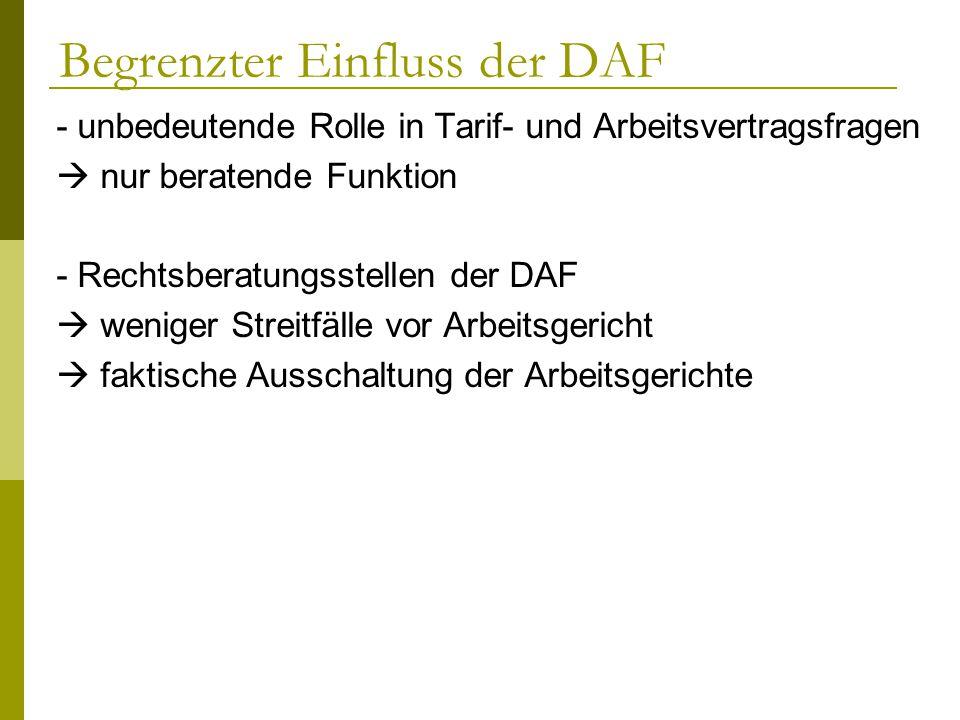 Begrenzter Einfluss der DAF - unbedeutende Rolle in Tarif- und Arbeitsvertragsfragen nur beratende Funktion - Rechtsberatungsstellen der DAF weniger S