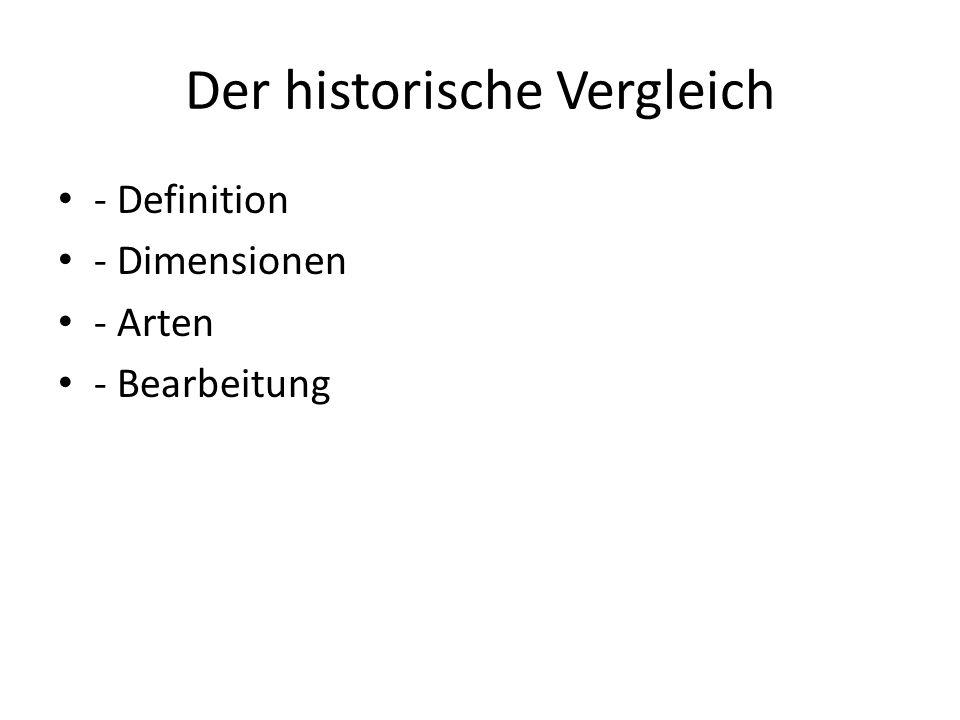Der historische Vergleich - Definition - Dimensionen - Arten - Bearbeitung