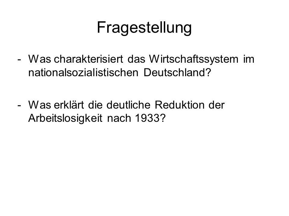 Fragestellung -Was charakterisiert das Wirtschaftssystem im nationalsozialistischen Deutschland? -Was erklärt die deutliche Reduktion der Arbeitslosig