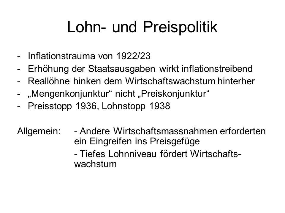 Lohn- und Preispolitik -Inflationstrauma von 1922/23 -Erhöhung der Staatsausgaben wirkt inflationstreibend -Reallöhne hinken dem Wirtschaftswachstum h