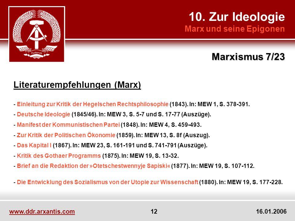 10. Zur Ideologie Marx und seine Epigonen Marxismus 7/23 www.ddr.arxantis.com 12 16.01.2006 Literaturempfehlungen (Marx) - Einleitung zur Kritik der H
