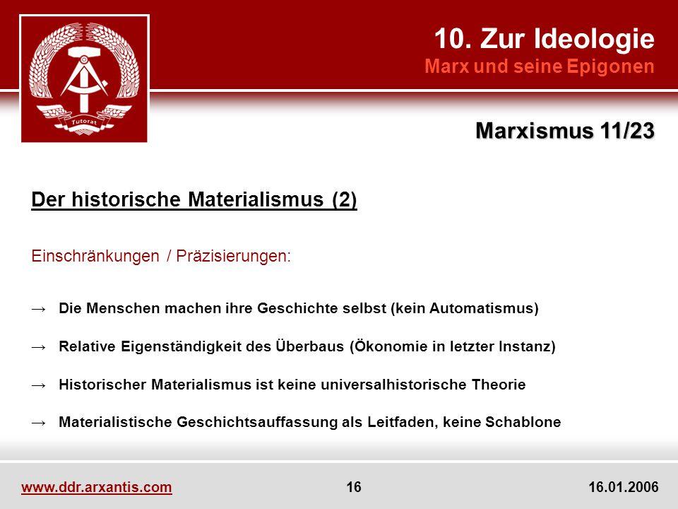 10. Zur Ideologie Marx und seine Epigonen Marxismus 11/23 www.ddr.arxantis.com 16 16.01.2006 Der historische Materialismus (2) Einschränkungen / Präzi