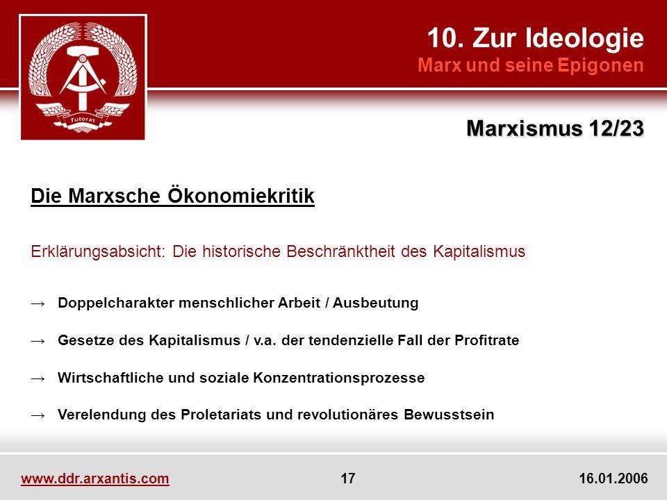 10. Zur Ideologie Marx und seine Epigonen Marxismus 12/23 www.ddr.arxantis.com 17 16.01.2006 Die Marxsche Ökonomiekritik Erklärungsabsicht: Die histor