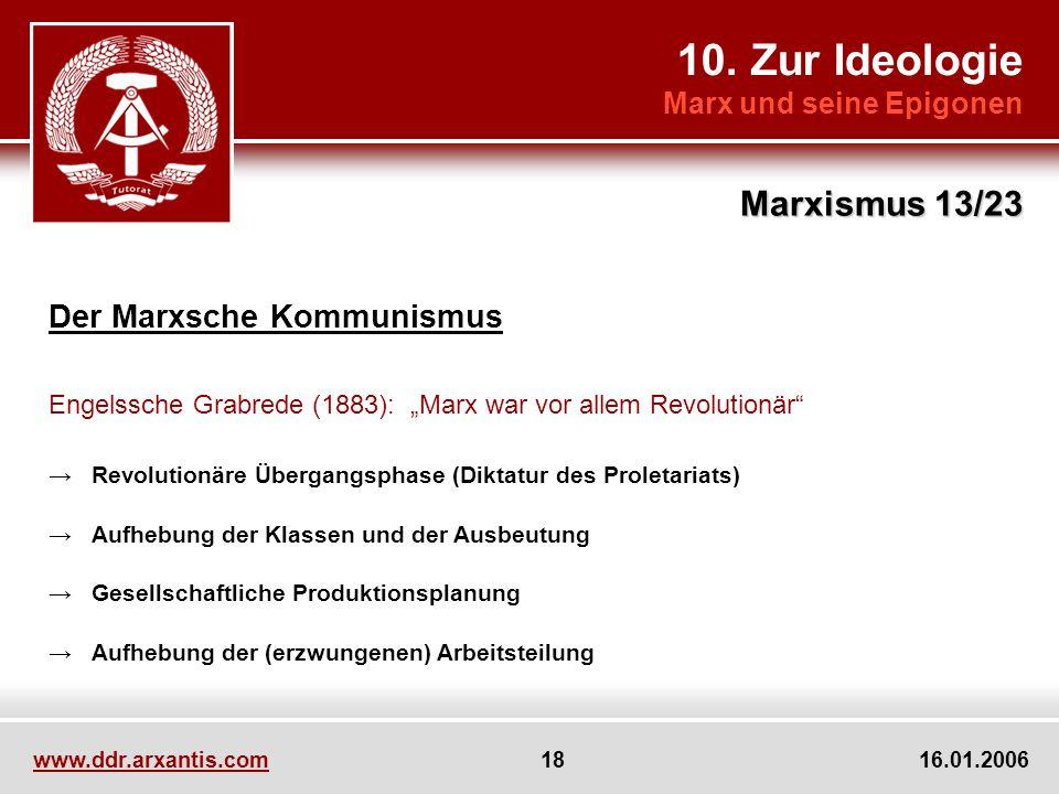 10. Zur Ideologie Marx und seine Epigonen Marxismus 13/23 www.ddr.arxantis.com 18 16.01.2006 Der Marxsche Kommunismus Engelssche Grabrede (1883): Marx