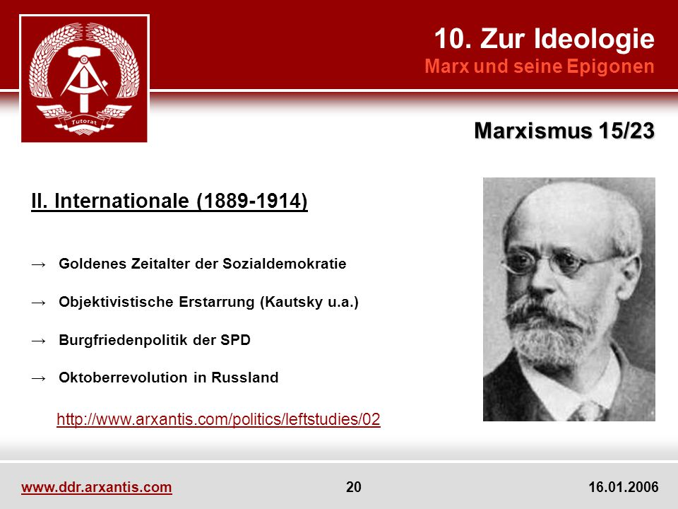 10. Zur Ideologie Marx und seine Epigonen Marxismus 15/23 www.ddr.arxantis.com 20 16.01.2006 II. Internationale (1889-1914) Goldenes Zeitalter der Soz