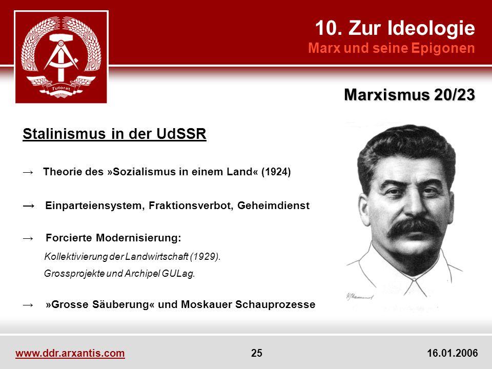 10. Zur Ideologie Marx und seine Epigonen Marxismus 20/23 www.ddr.arxantis.com 25 16.01.2006 Stalinismus in der UdSSR Theorie des » Sozialismus in ein