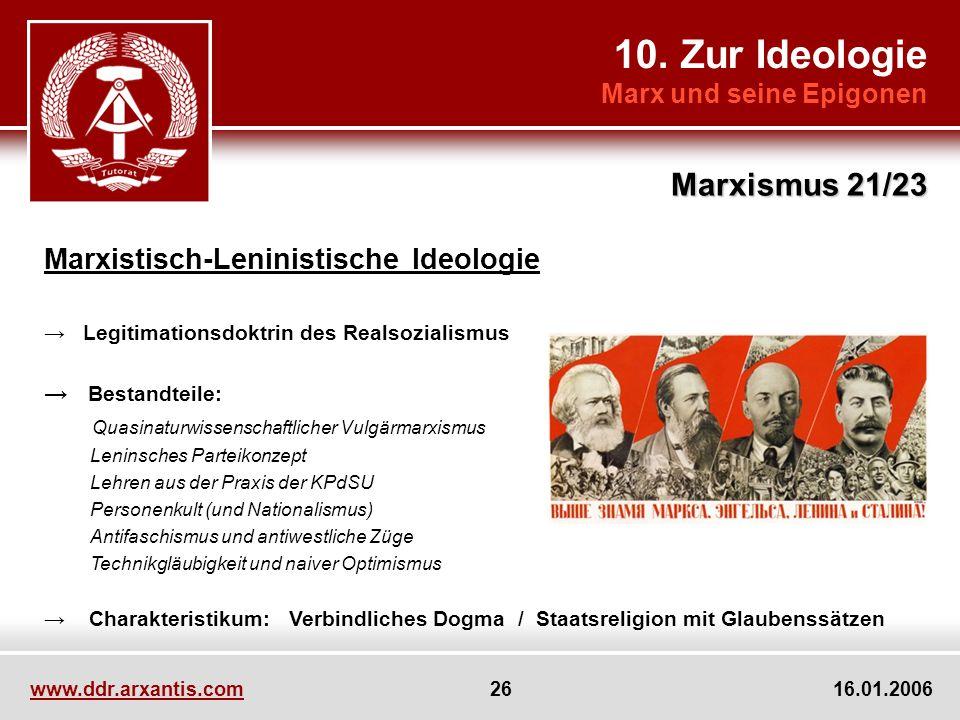 10. Zur Ideologie Marx und seine Epigonen Marxismus 21/23 www.ddr.arxantis.com 26 16.01.2006 Marxistisch-Leninistische Ideologie Legitimationsdoktrin