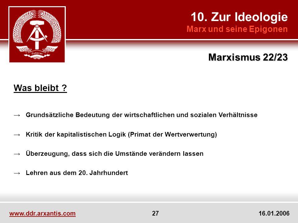 10. Zur Ideologie Marx und seine Epigonen Marxismus 22/23 www.ddr.arxantis.com 27 16.01.2006 Was bleibt ? Grundsätzliche Bedeutung der wirtschaftliche
