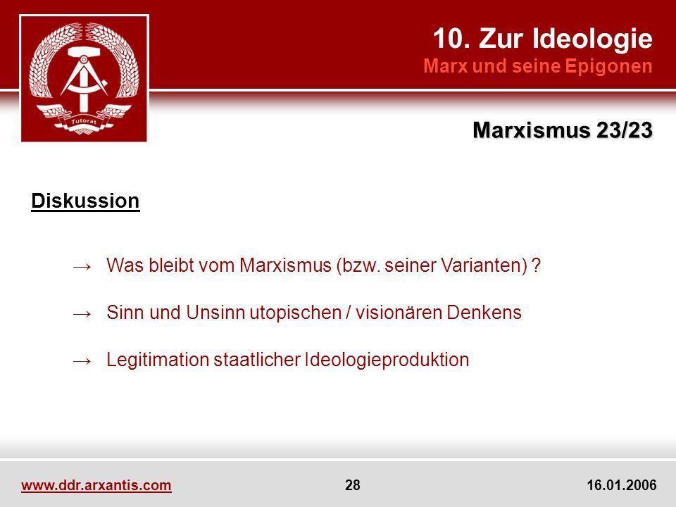 10. Zur Ideologie Marx und seine Epigonen Marxismus 23/23 www.ddr.arxantis.com 28 16.01.2006 Diskussion Was bleibt vom Marxismus (bzw. seiner Variante