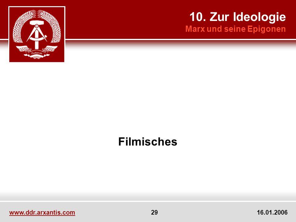 www.ddr.arxantis.com 29 16.01.2006 Filmisches 10. Zur Ideologie Marx und seine Epigonen