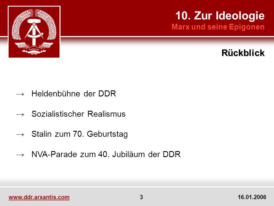 www.ddr.arxantis.com 3 16.01.2006 Heldenbühne der DDR Sozialistischer Realismus Stalin zum 70. Geburtstag NVA-Parade zum 40. Jubiläum der DDR 10. Zur