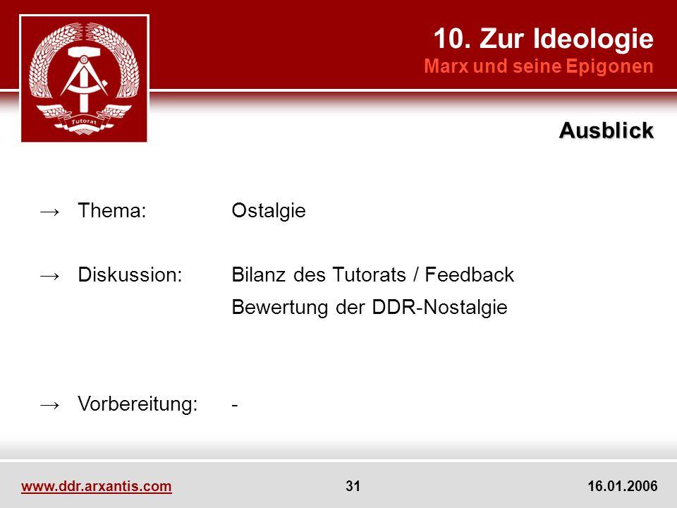 www.ddr.arxantis.com 31 16.01.2006 Thema:Ostalgie Diskussion:Bilanz des Tutorats / Feedback Bewertung der DDR-Nostalgie Vorbereitung:- 10. Zur Ideolog