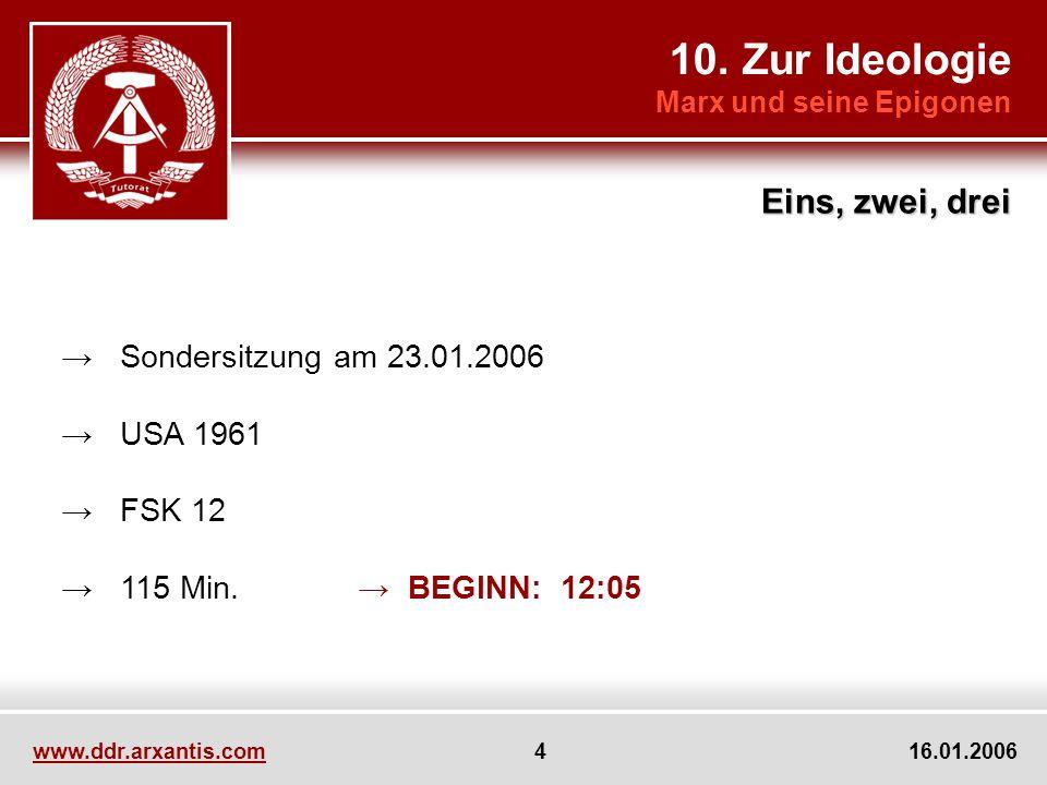 www.ddr.arxantis.com 4 16.01.2006 Sondersitzung am 23.01.2006 USA 1961 FSK 12 115 Min. BEGINN: 12:05 10. Zur Ideologie Marx und seine Epigonen Eins, z