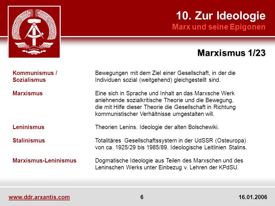 10. Zur Ideologie Marx und seine Epigonen Marxismus 1/23 Kommunismus /Bewegungen mit dem Ziel einer Gesellschaft, in der die SozialismusIndividuen soz