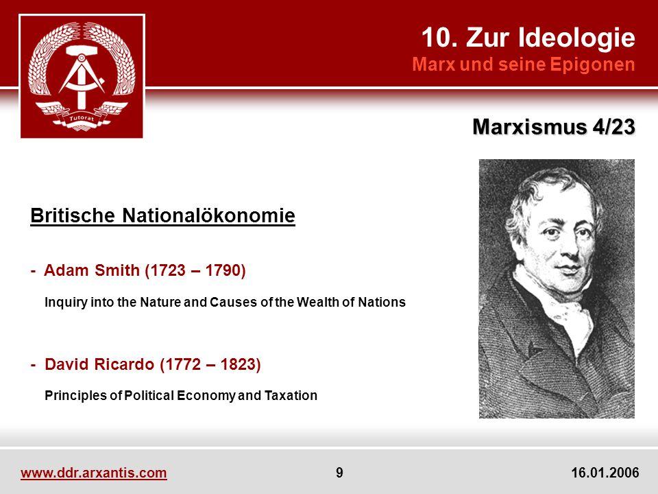 10. Zur Ideologie Marx und seine Epigonen Marxismus 4/23 www.ddr.arxantis.com 9 16.01.2006 Britische Nationalökonomie - Adam Smith (1723 – 1790) Inqui