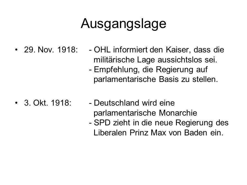 Die Novemberrevolution 1918 30.Okt. 1918Meuterei in Willhelmshafen und Kiel 9.