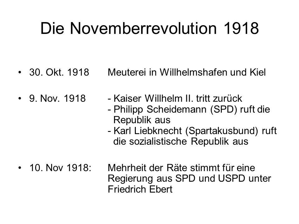 Haltung der Regierung zu den Räten und der Revolution Friedrich Ebert: Ich will sie (die Revolution) nicht, ja ich hasse sie wie eine Sünde.