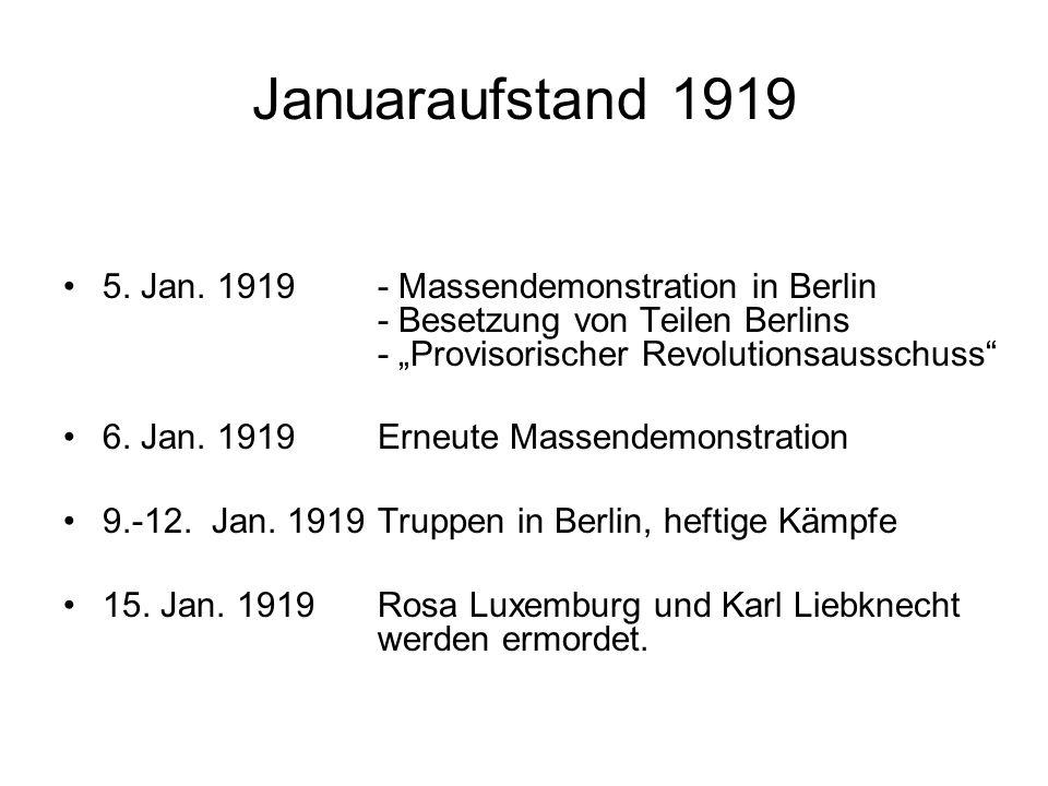 Weitere Aufstände 1919 - 1923 Jan./ Feb.