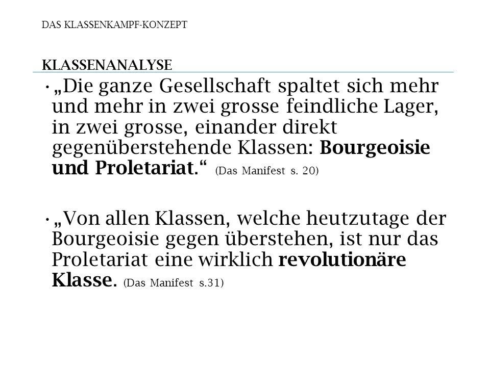 DAS KLASSENKAMPF-KONZEPT KLASSENANALYSE Die ganze Gesellschaft spaltet sich mehr und mehr in zwei grosse feindliche Lager, in zwei grosse, einander direkt gegenüberstehende Klassen: Bourgeoisie und Proletariat.