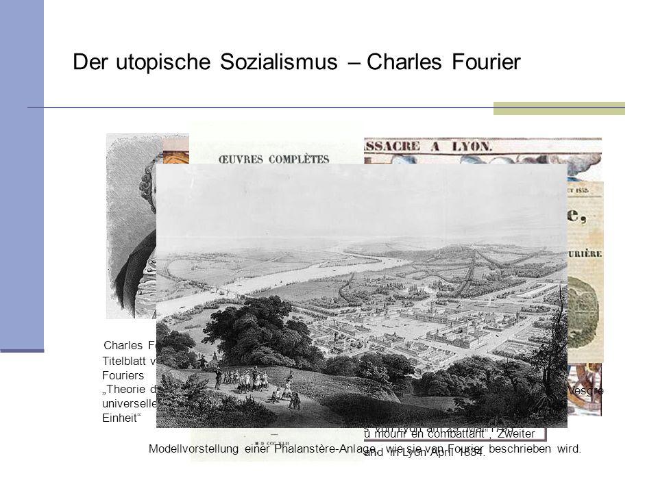Der utopische Sozialismus – Charles Fourier Charles Fourier (1772–1837) Erstürmung des Rathauses von Lyon am 29. Mai 1793 Vivre libre en travaillant o