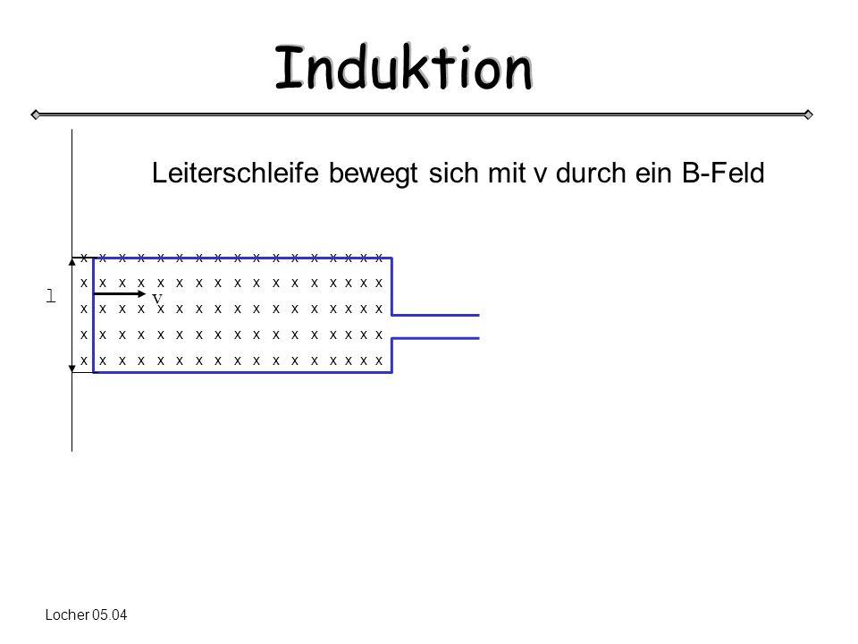 Induktion Locher 05.04 x x x x x x x x x x x x x x x x x l v Leiterschleife bewegt sich mit v durch ein B-Feld