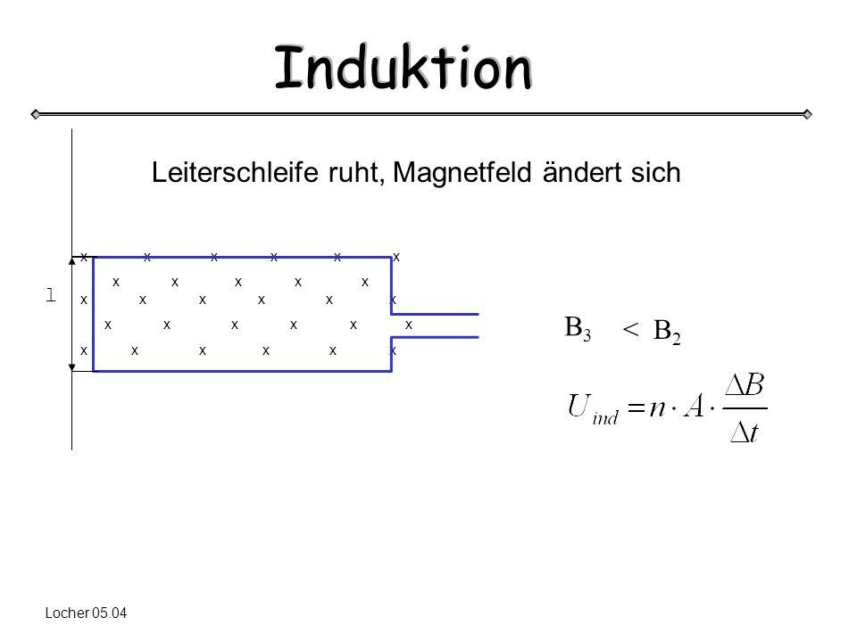 Induktion Locher 05.04 x x x x x x x x x x x x x x x x x x x x x x x l Leiterschleife ruht, Magnetfeld ändert sich B3B3 < B 2