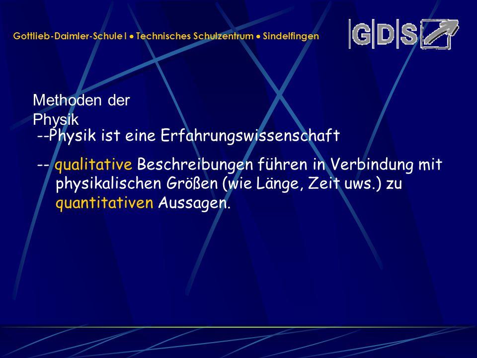 Gottlieb-Daimler-Schule I Technisches Schulzentrum Sindelfingen Methoden der Physik --Physik ist eine Erfahrungswissenschaft -- qualitative Beschreibu