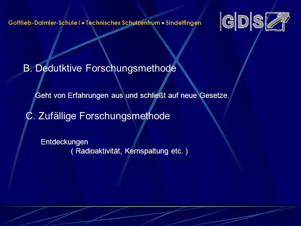 Gottlieb-Daimler-Schule I Technisches Schulzentrum Sindelfingen B. Dedutktive Forschungsmethode Entdeckungen ( Radioaktivität, Kernspaltung etc. ) C.