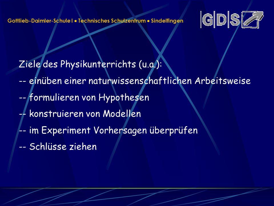 Gottlieb-Daimler-Schule I Technisches Schulzentrum Sindelfingen Ziele des Physikunterrichts (u.a.): -- einüben einer naturwissenschaftlichen Arbeitswe