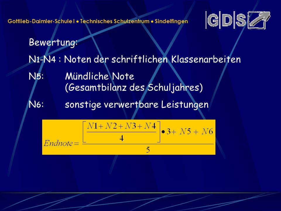 Gottlieb-Daimler-Schule I Technisches Schulzentrum Sindelfingen Bewertung: N 1 -N 4 : Noten der schriftlichen Klassenarbeiten N 5 : Mündliche Note (Ge