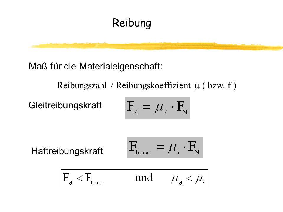 Reibung Maß für die Materialeigenschaft: Reibungszahl / Reibungskoeffizient ( bzw.