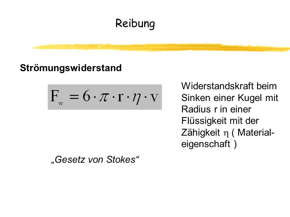 Reibung Strömungswiderstand Widerstandskraft beim Sinken einer Kugel mit Radius r in einer Flüssigkeit mit der Zähigkeit ( Material- eigenschaft ) Gesetz von Stokes