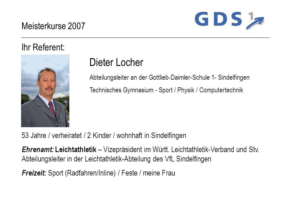 Ihr Referent: Dieter Locher Abteilungsleiter an der Gottlieb-Daimler-Schule 1- Sindelfingen Technisches Gymnasium - Sport / Physik / Computertechnik 5
