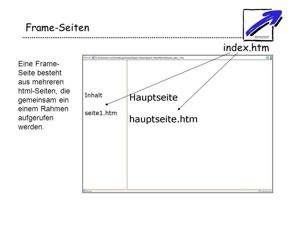 Frame-Seiten Eine Frame- Seite besteht aus mehreren html-Seiten, die gemeinsam ein einem Rahmen aufgerufen werden. index.htm