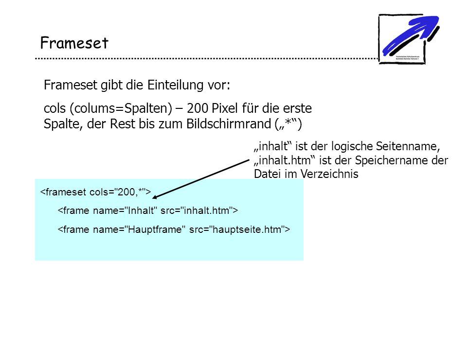 Frameset Frameset gibt die Einteilung vor: cols (colums=Spalten) – 200 Pixel für die erste Spalte, der Rest bis zum Bildschirmrand (*) inhalt ist der
