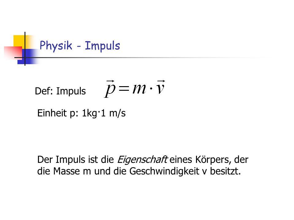 Physik - Impuls Def: Impuls Einheit p: 1kg·1 m/s Der Impuls ist die Eigenschaft eines Körpers, der die Masse m und die Geschwindigkeit v besitzt.