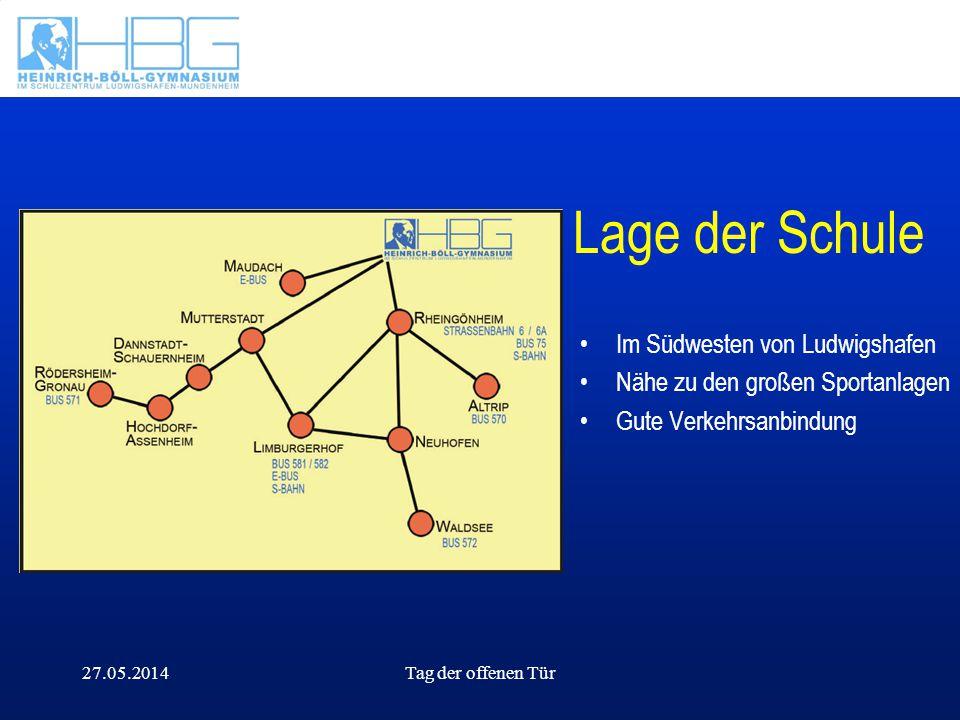 27.05.2014Tag der offenen Tür Lage der Schule Im Südwesten von Ludwigshafen Nähe zu den großen Sportanlagen Gute Verkehrsanbindung
