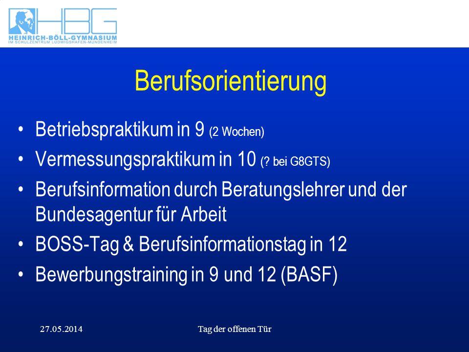 27.05.2014Tag der offenen Tür Berufsorientierung Betriebspraktikum in 9 (2 Wochen) Vermessungspraktikum in 10 (? bei G8GTS) Berufsinformation durch Be