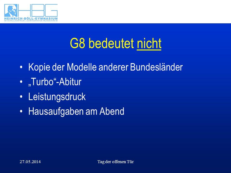 27.05.2014Tag der offenen Tür G8 bedeutet nicht Kopie der Modelle anderer Bundesländer Turbo-Abitur Leistungsdruck Hausaufgaben am Abend