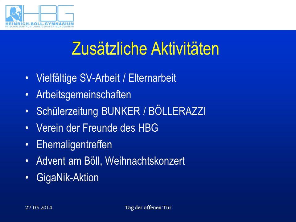 27.05.2014Tag der offenen Tür Zusätzliche Aktivitäten Vielfältige SV-Arbeit / Elternarbeit Arbeitsgemeinschaften Schülerzeitung BUNKER / BÖLLERAZZI Ve