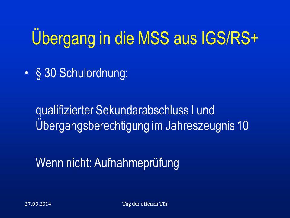 27.05.2014Tag der offenen Tür Übergang in die MSS aus IGS/RS+ § 30 Schulordnung: qualifizierter Sekundarabschluss I und Übergangsberechtigung im Jahre