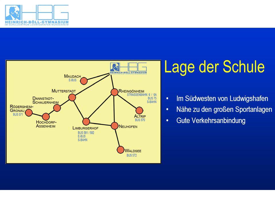Lage der Schule Im Südwesten von Ludwigshafen Nähe zu den großen Sportanlagen Gute Verkehrsanbindung