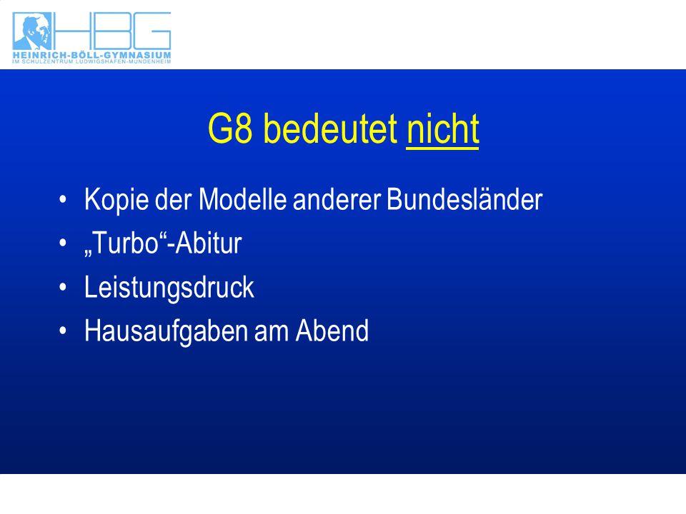 Das rheinland-pfälzische Modell: G8GTS Abitur nach 8 Jahren nur in Verbindung mit –der Ganztagsschule –der Umgestaltung des Schultages –der Umgestaltung des Unterrichts