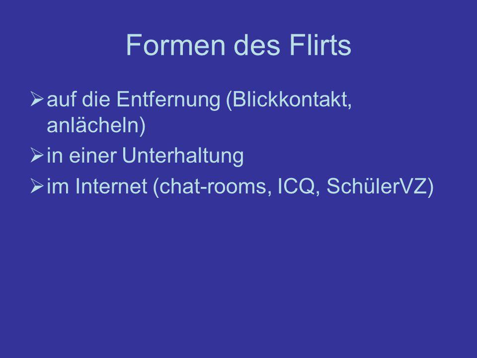 Formen des Flirts auf die Entfernung (Blickkontakt, anlächeln) in einer Unterhaltung im Internet (chat-rooms, ICQ, SchülerVZ)