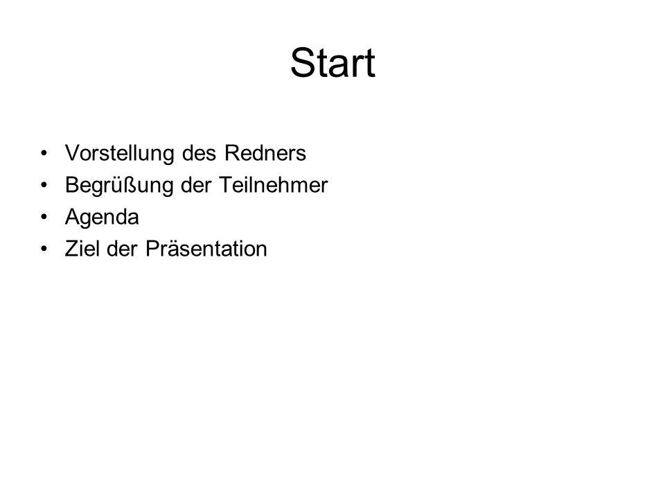 Start Vorstellung des Redners Begrüßung der Teilnehmer Agenda Ziel der Präsentation