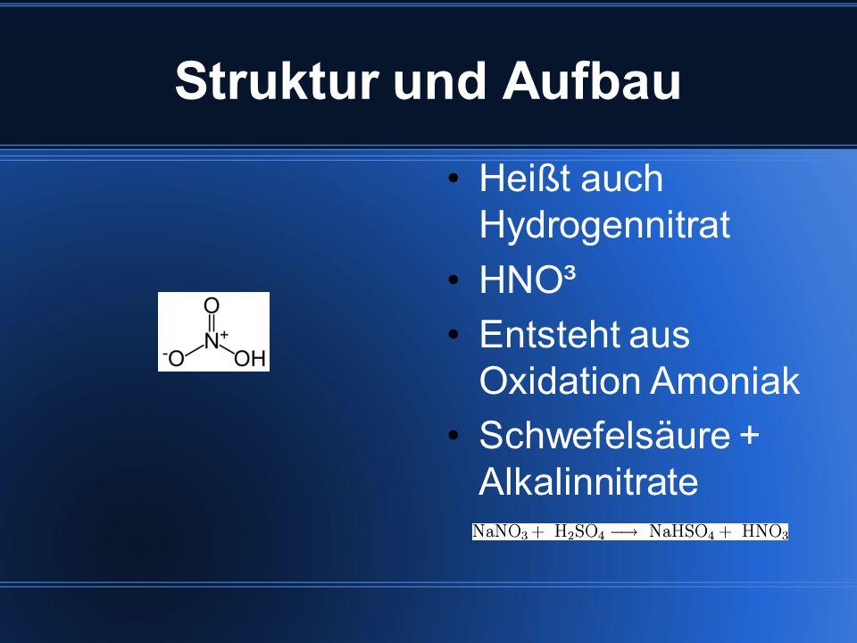 Struktur und Aufbau Heißt auch Hydrogennitrat HNO³ Entsteht aus Oxidation Amoniak Schwefelsäure + Alkalinnitrate
