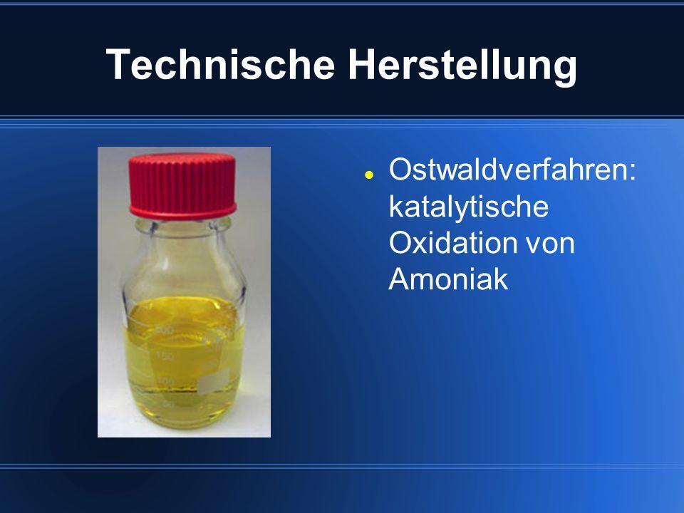 Technische Herstellung Ostwaldverfahren: katalytische Oxidation von Amoniak