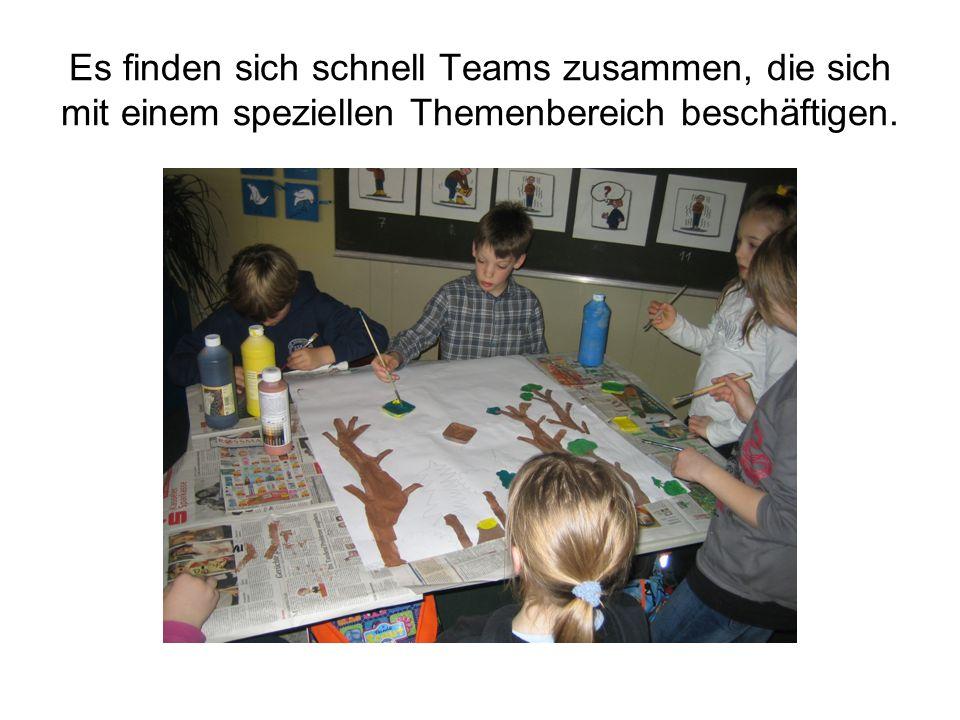 Es finden sich schnell Teams zusammen, die sich mit einem speziellen Themenbereich beschäftigen.